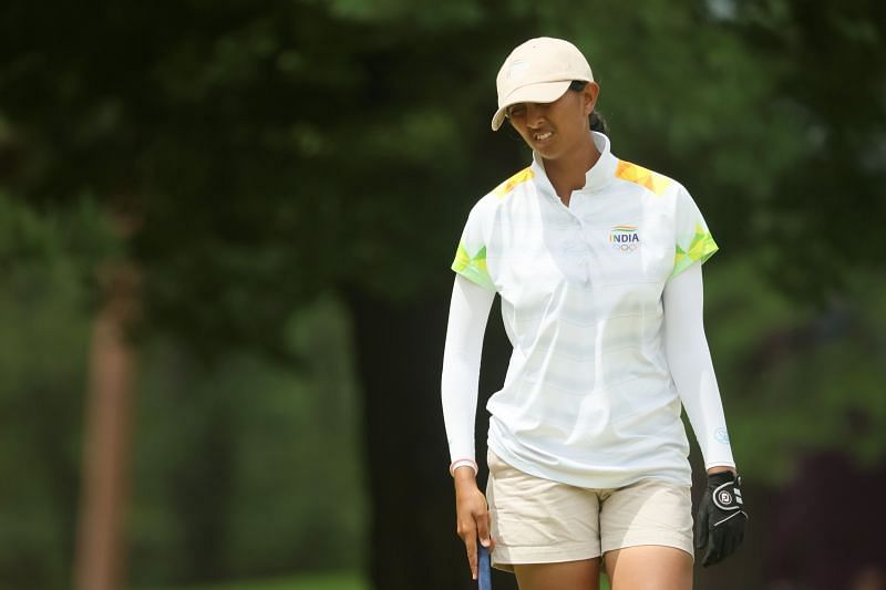 Aditi Ashok of Team India reacts during the final round of the Women's Individual Stroke Play at Tokyo 2020 Olympic