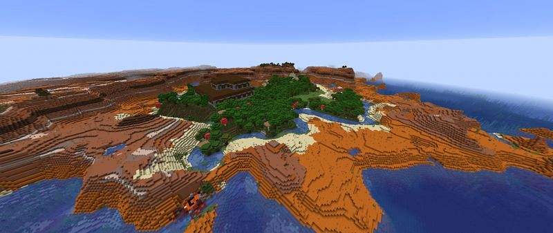 A mansion surrounded by badlands (Image via Minecraft)