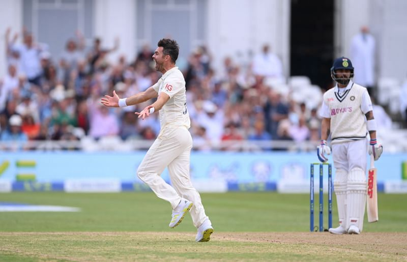 Jimmy Anderson celebrates the wicket of Virat Kohli in the first Test.