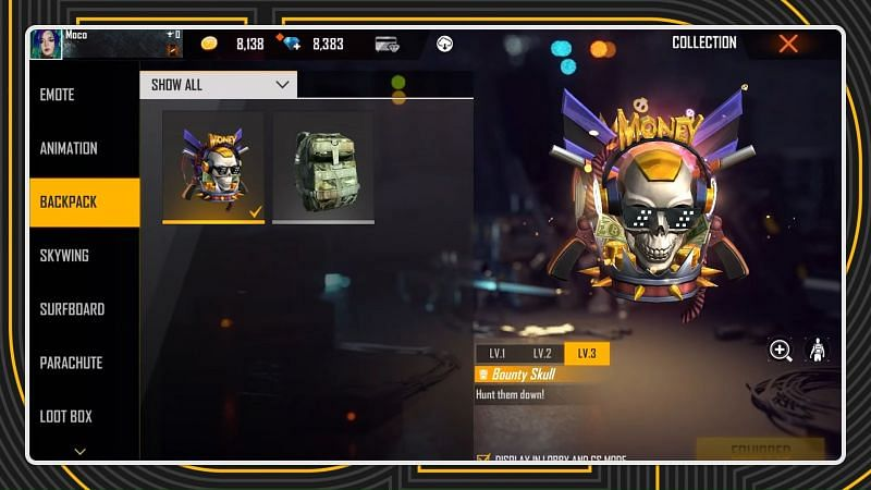 Players can display backpack in the Lobby and Clash Squad mode (image via Free Fire)