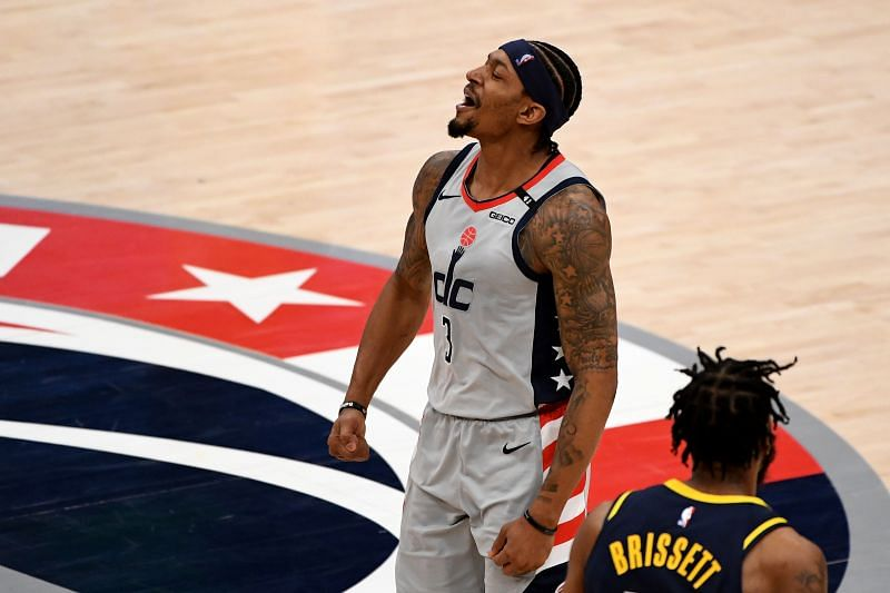 Bradley Beal #3 celebrates after a play.