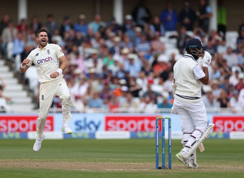 James Anderson after dismissing Cheteshwar Pujara. Pic: Getty Images