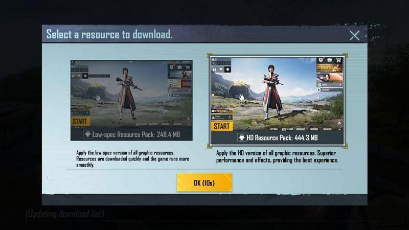 Het bronpakket moet onmiddellijk na het installeren van de game worden gedownload (Afbeelding via PUBG Mobile)