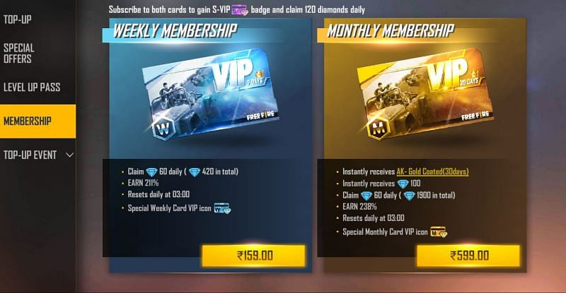 You will get 1900 diamonds and AK gun skin after purchasing monthly membership (Image via Free Fire)