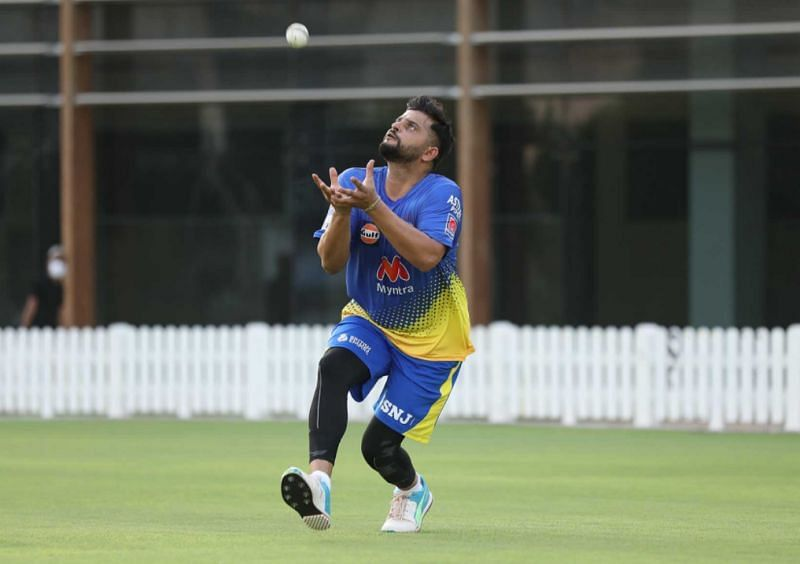 Suresh Raina gets some fielding practice. Pic: chennaisuperkings.com
