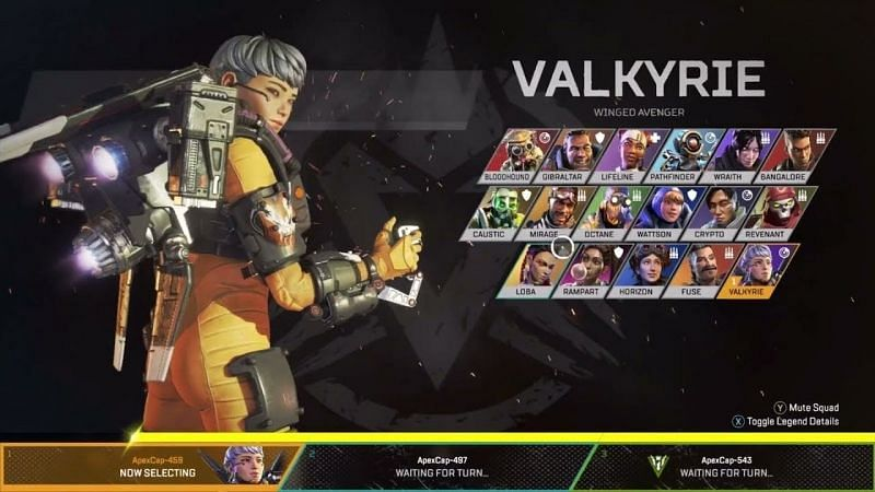 The legend selection screen in Apex Legends (Image via Electronic Arts)