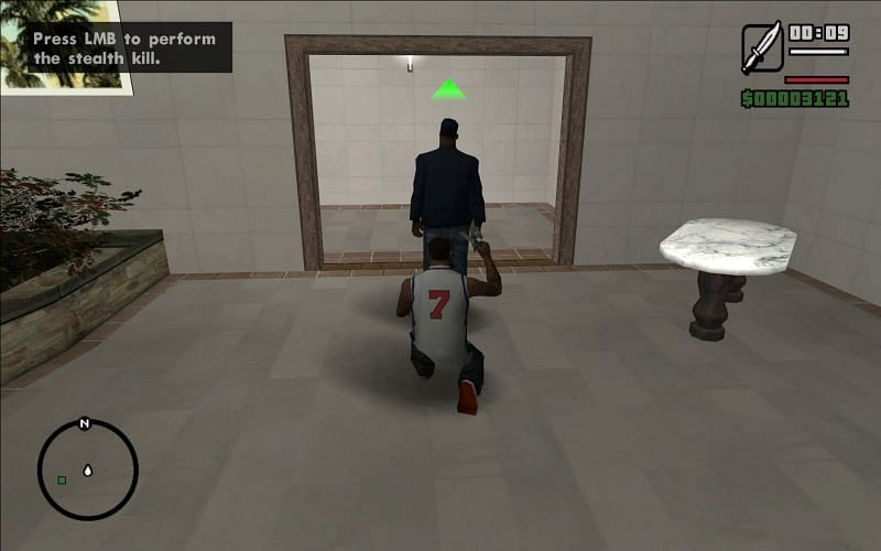 CJ is about to perform a stealth kill here (Image via Rockstar Games)