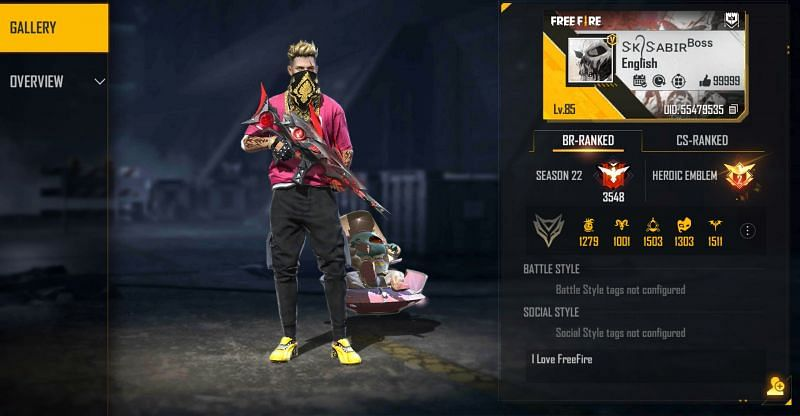 """SK Sabir Boss is a part of the """"BOSS"""" guild in Free Fire (Image via Free Fire)"""