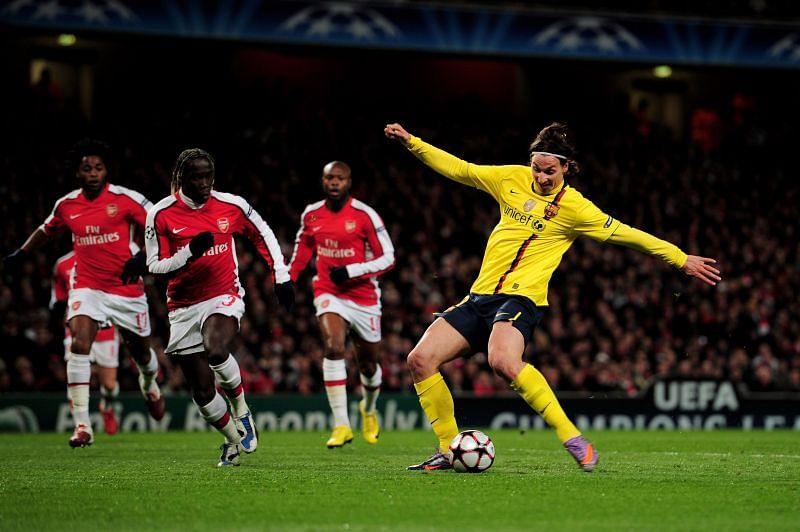 Zlatan Ibrahimovic in action for Barcelona
