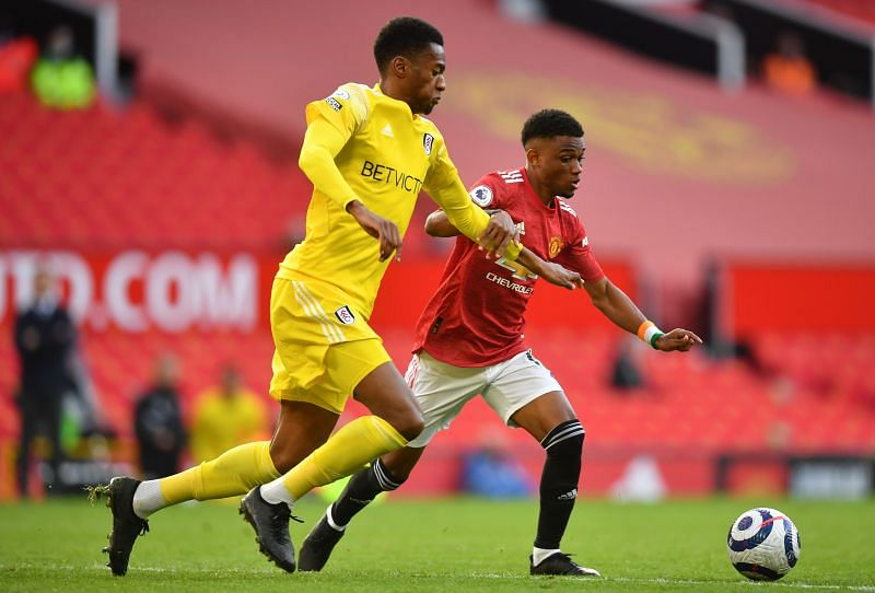 Amad Diallo in action for Manchester United against Fulham