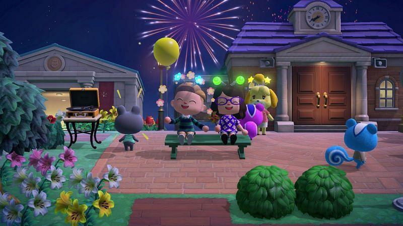 Vuurwerkevenement is in volle gang bij Animal Crossing (Afbeelding via CrossingChannel)