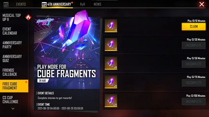 Free cube fragments were given on the peak day of the 4th anniversary celebrations (Image via Free Fire)
