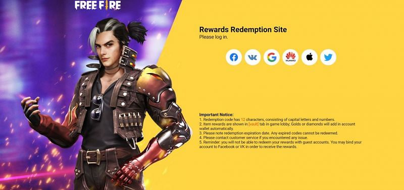 The website requires users to sign in using one of the available platforms (Image via Free Fire)
