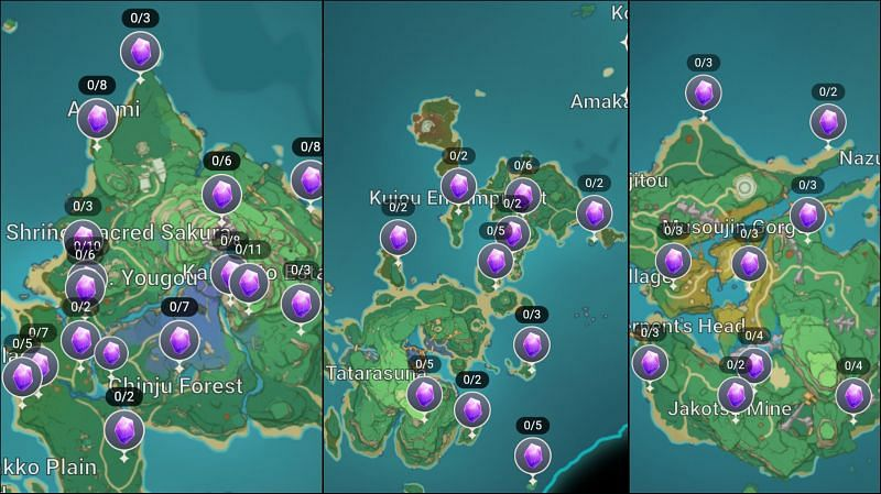 Amethyst Lump scattered all over Inazuma (Image via Genshin Impact Interactive map)