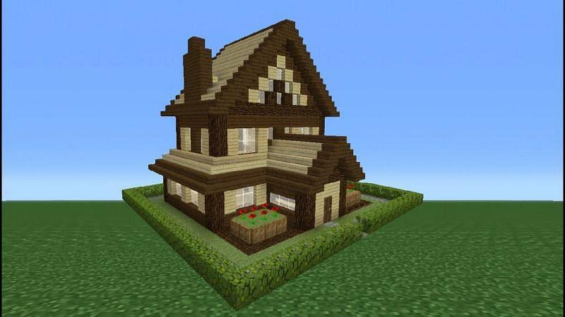 A simple wooden house (Image via TSMC - Minecraft on YouTube)