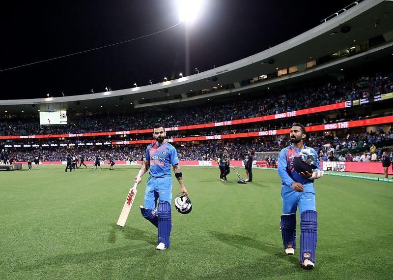 Virat Kohli and Dinesh Karthik during the Australia tour of 2018-19.