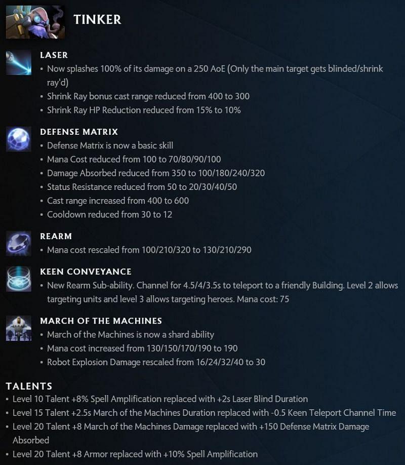 Tinker changes in Dota 2 7.30 (image via Valve)