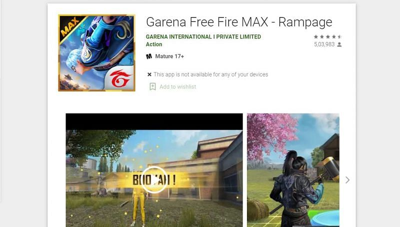 Free Fire Max on the Google Play Store (Image via Play Store)
