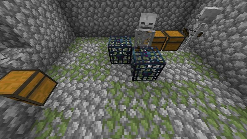 Dungeon with a skeleton inside (Image via Minecraft)