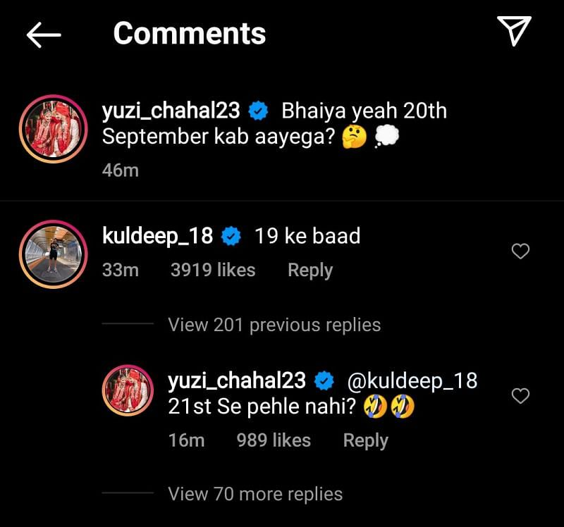 Yuzvendra Chahal replied to Kuldeep Yadav after the latter tried to pull his leg on Instagram