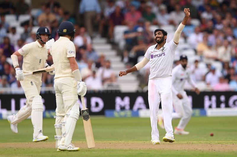 Team India fast bowler Jasprit Bumrah celebrates after dismissing Stuart Broad. Pic: Getty Images