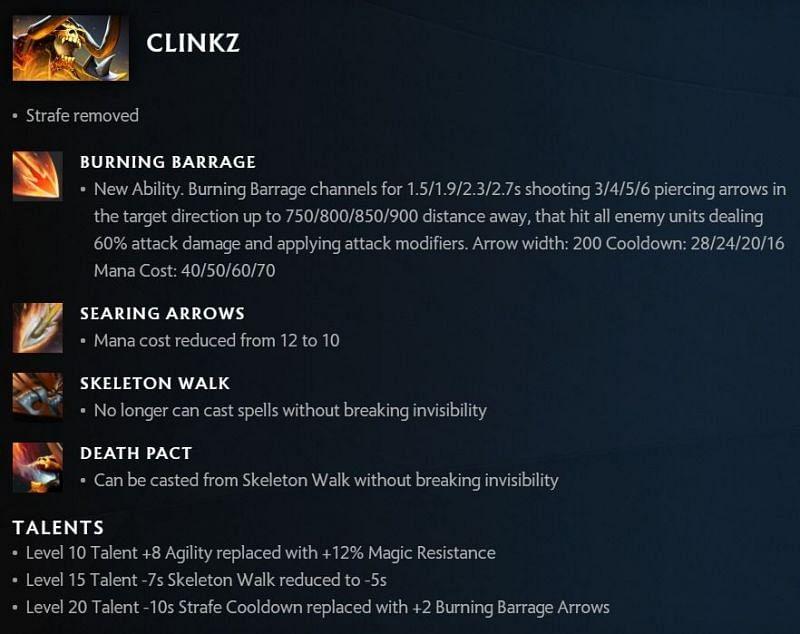Clinkz changes in Dota 2 7.30 (image via Valve)