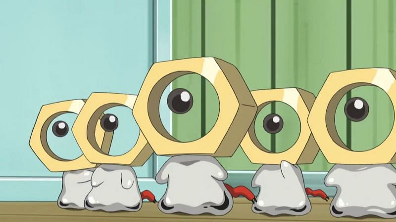 A group of Meltan in the anime (Image via The Pokemon Company)