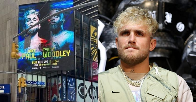 Jake Paul Shows Off His Poster For Fight Against Tyron Woodley Beaming At Times Square