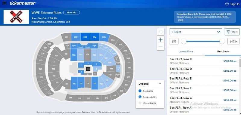 Extreme Rules ticket booking screen - ticketmaster.com