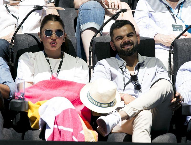 Virat Kohli and Anushka Sharma watching a match at the Australian Open in 2019.