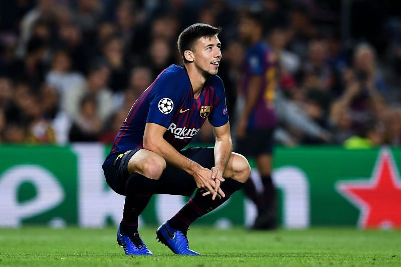 A dejected Lenglet looks up during Barcelona