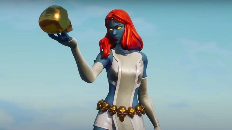 Mystique and her skull in Fortnite (Image via Epic Games)