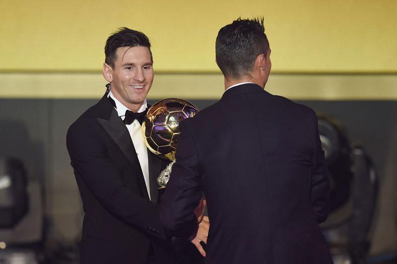 Lionel Messi and Cristiano Ronaldo (right) at the 2015 FIFA Ballon d'Or Gala