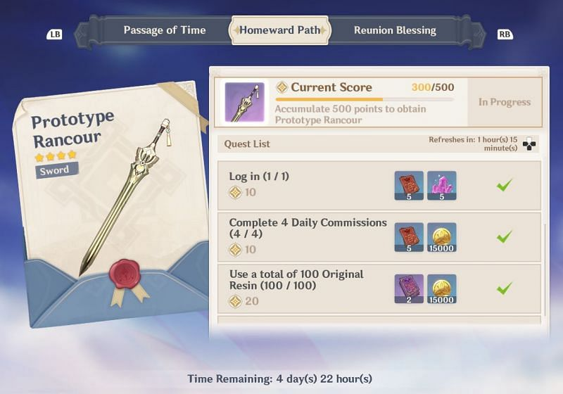 Homeward Path rewards (image via Genshin Impact)