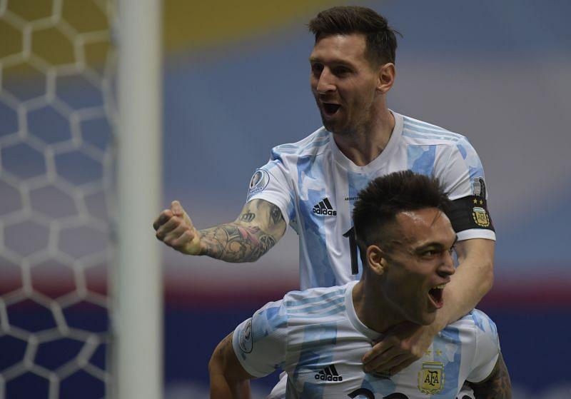 Lautaro Martinez and Lionel Messi (top)