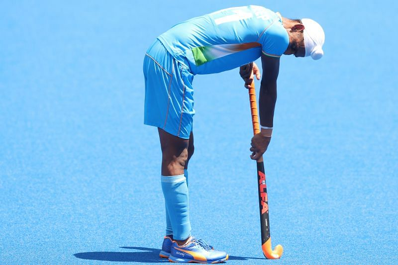 Mandeep Sindh of team India looks dejected after India's loss to Belgium