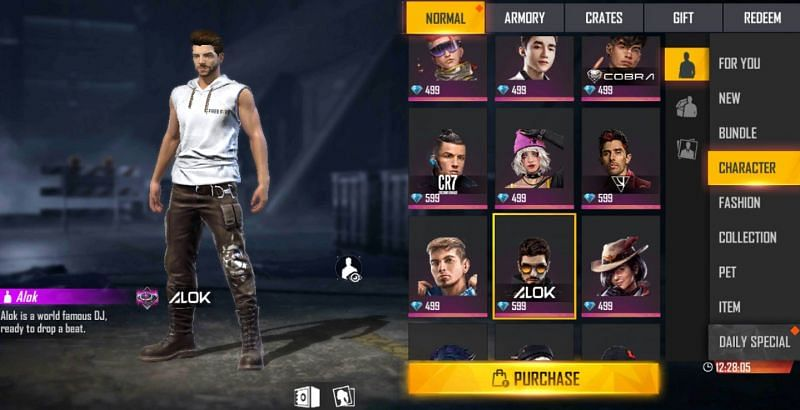 Find Alok in the character tab (Image via Free Fire)