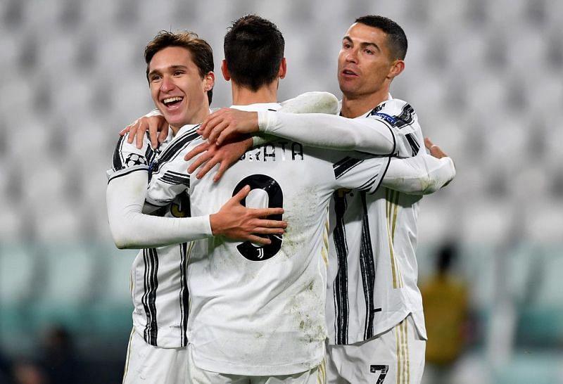 Cristiano Ronaldo, Alvaro Morata and Federico Chiesa (from right to left)