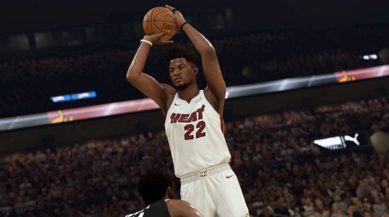 Jimmy Butler with the Miami Heat as seen in NBA 2K20 [Source: NBA 2KW]