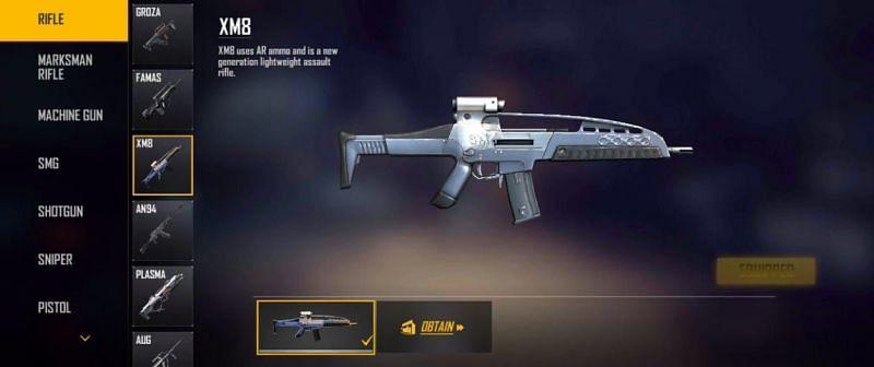 XM8: A light-weight AR (Image via Free Fire)