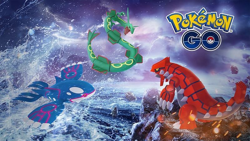 Kyogre, Groudon and Rayquaza are a legendary trio from Generation III (Image via Niantic)