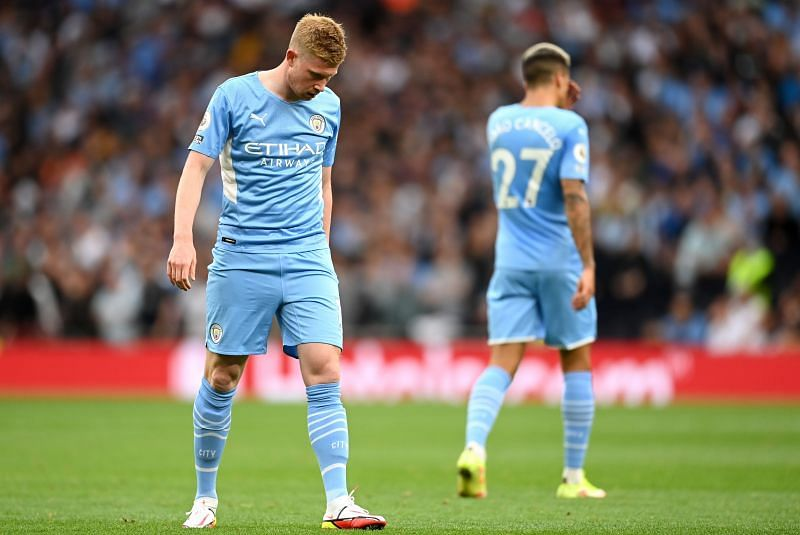 Kevin de Bruyne of Manchester City reacts during the match against Tottenham