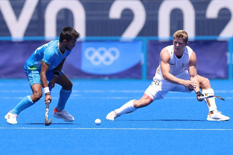 Vivek Sagar Prasad in action against Belgium