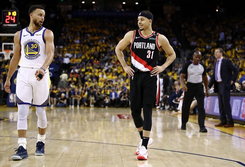 Stephen Curry #30 goes head-to-head against brother Seth Curry #31 in the 2019 NBA Western Conference Finals