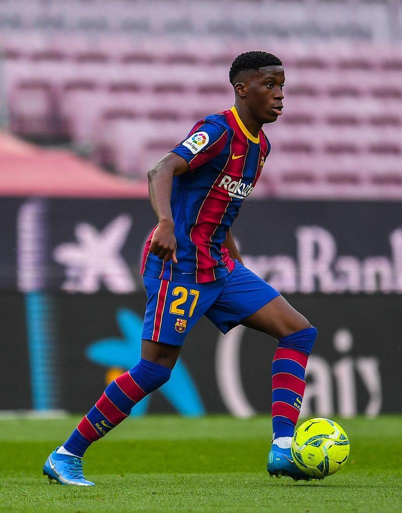 Iliax Moriba in action for Barcelona during the 2020-21 season