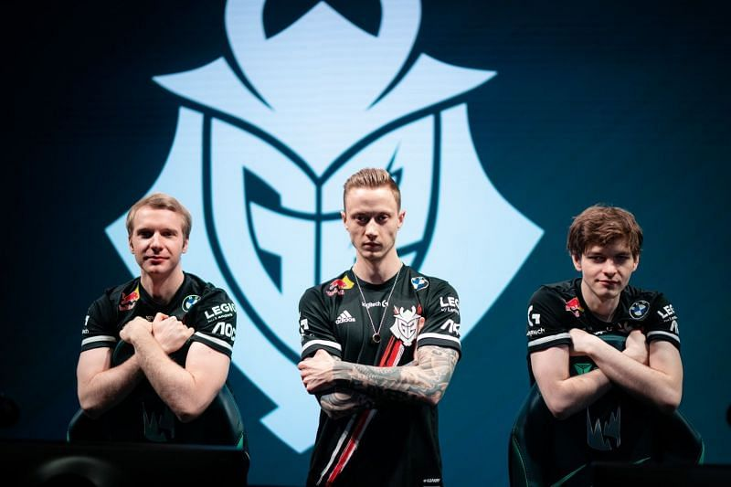 Jankos, Rekkles, and Mikyx standing on stage representing G2's League of Legends team (Image via Riot)