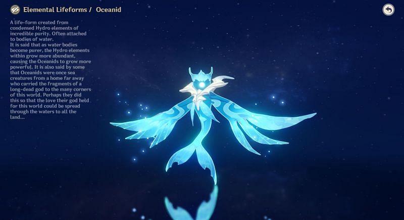 Oceanid in Archive (Image via Genshin Impact)