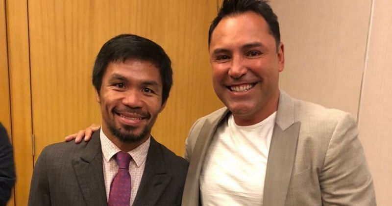 Manny Pacquiao (left), Oscar De La Hoya (right) [Picture credit: @abscbnsports via Twitter]