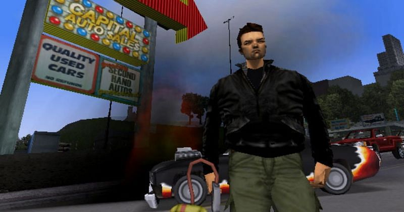 Claude is shown here wearing his iconic green pants (Image via Rockstar Games)