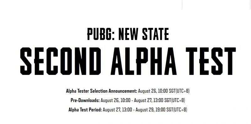 PUBG New State's second Alpha Test schedule (Image via PUBG New State)